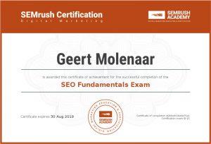 SEMrush certificaat SEO Fundamentals